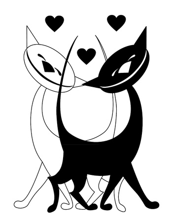 Vector illustration. Two valentine love cats. Vector