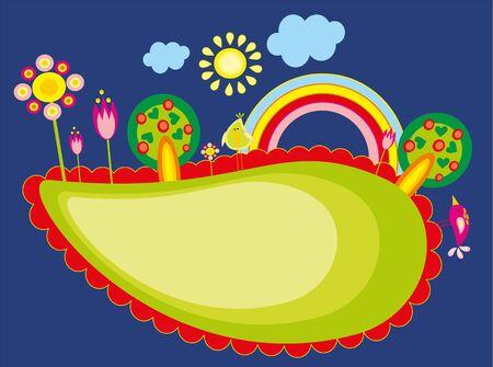 �rboles con pajaros: bebe dibujo - un �rbol, aves y arco iris