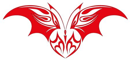 Tattoo red butterfly Vector