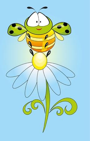 caterpillar and flower Vector