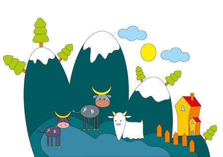 Vector illustration. Farm animals. Vector