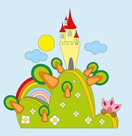 Vector illustration. Castle on green hill. Vector
