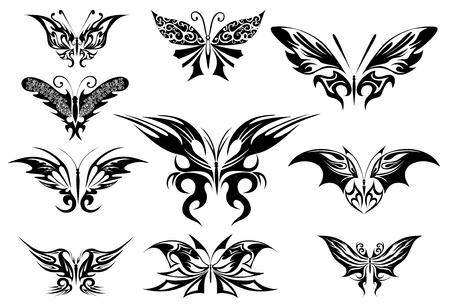 farfalla tatuaggio: Illustrazione vettoriale. Farfalla tatuaggio nero Vettoriali