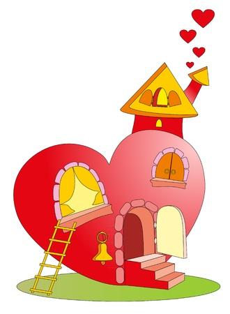 windows home: Vector illustration. Heart castle Illustration