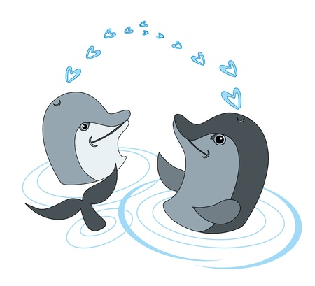 vector illustration: dolphin love Stock Vector - 10102197