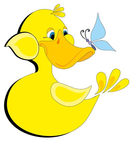 Vector illustration. Duck and butterfly. Illustration