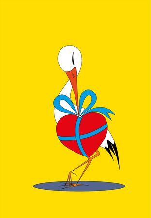 love heron and gift Vector