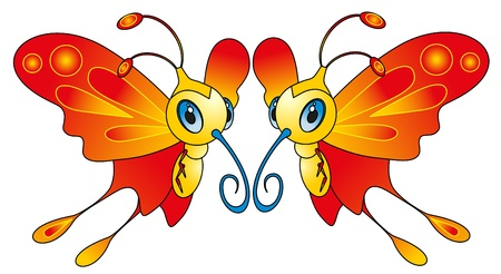 cartoon insect - color butterfly Vector