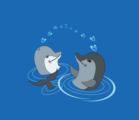 dolphin love Vector