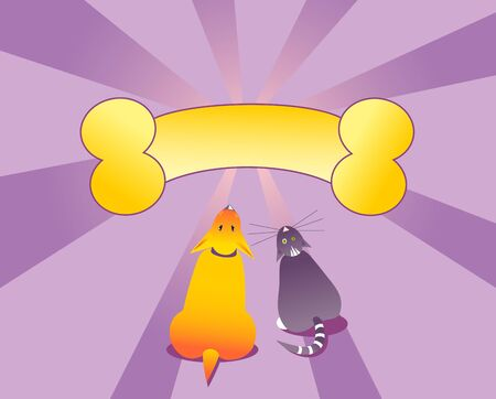 fun dog and cat Vector