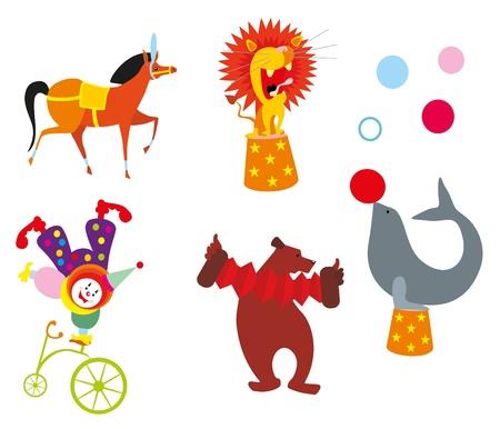 clown cirque: animaux de cirque Illustration