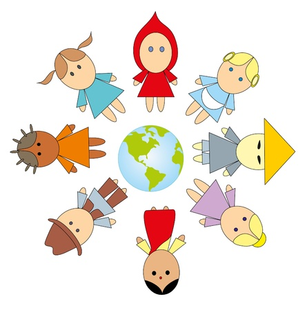 Children on a planet Illustration