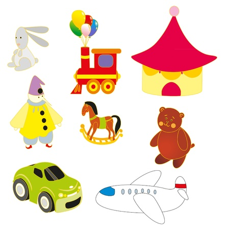 Childrens set of toys Vector