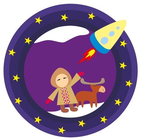 The boy and deer look at the rocket Stock Vector - 10200175