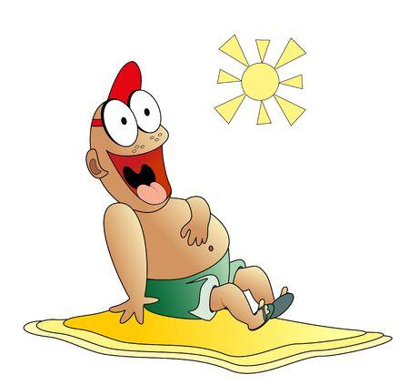 the boy sunbathes on a beach Stock Vector - 13287972