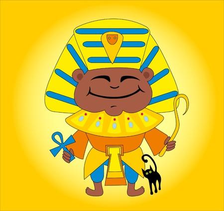 tsar: Happy Egyptian and cat Illustration