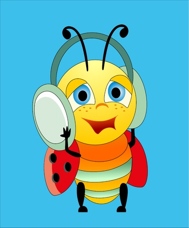Ladybug and earphones Vector