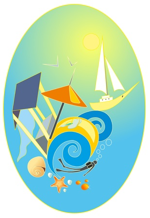 Vector illustration. Sea success. Vector