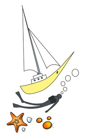 hydra: Vector illustration. Sea objects.