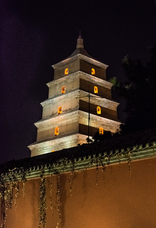 Giant wild goose pagoda by night, Xi'An, China