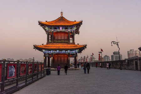 Beautiful temple on the Xi'An city walls, China