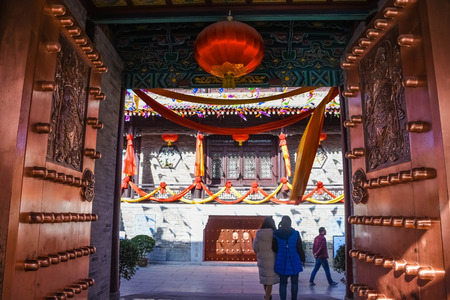 Entrance to a temple in the Xi'An city center, China Editorial