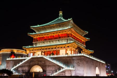 Xi'An bell tower by night, China Banco de Imagens