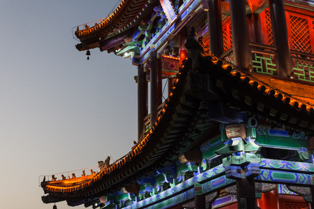 Detail of a beautiful temple on the Xi'An city walls, China