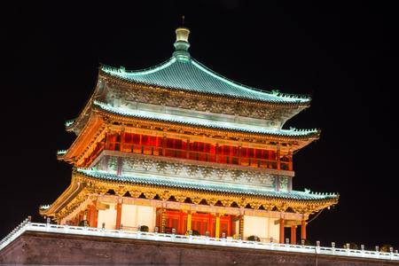 Xi'An clock tower by night, China Banco de Imagens