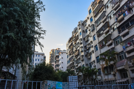 SHENZHEN, CHINA, DECEMBER 21 2017:The typical buildings in Baishizhou, one of the