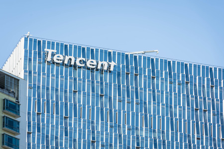 SHENZHEN, CHINA, JANUARY 9 2018: Logo of Tencent on the skyscraper of headquarters. Tencent is one of the largest Internet, gaming and technology companies in the world 에디토리얼