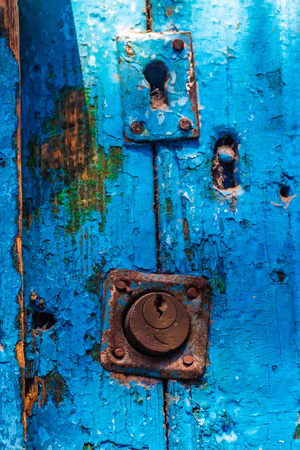 Close up of an old door locked in chefchaouen, Morocco