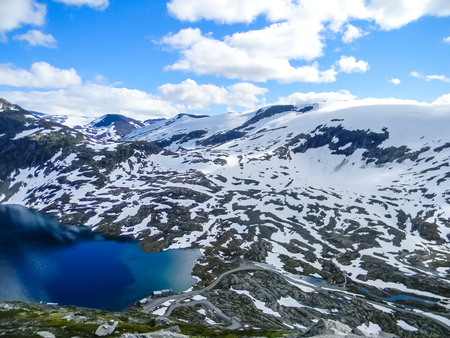 Dalsnibba snowy mountain and glacial lake, Norway