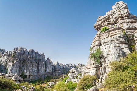 Formaciones rocosas de El Torcal, Andalucía, España Foto de archivo