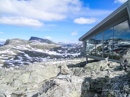 GEIRANGER, NORWAY, 23 JULY 2016: Modern refuge in the Dalsnibba mount