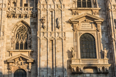 Detail of the Milan Cathedral (Duomo di Milano) at sunset, Italy