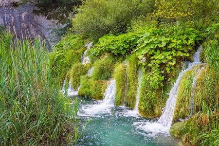 Little waterfalls in the Plitvice Lakes national park, croatia Standard-Bild