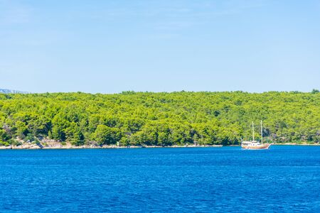 View of Hvar Island and its vegetation from the Adriatic Sea, Croatia