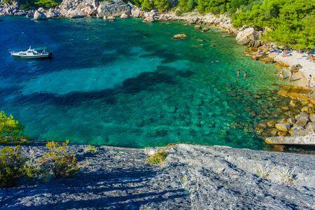 Crystalline water of Malo Zarace Beach, Hvar Island, Croatia