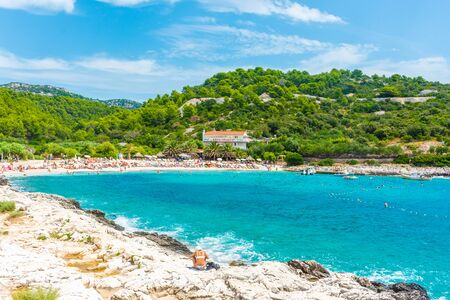 Beautiful Pokoniji Dol beach in Hvar island, Croatia