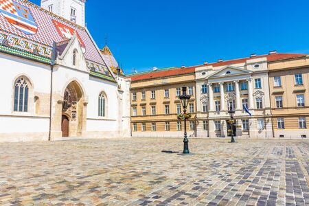 View of the St. Mark's Church and the square, Zagreb, Croatia