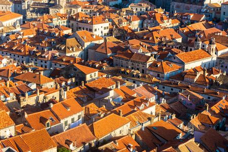 Beautiful aerial landscape of Dubrovnik old town at sunset, Croatia