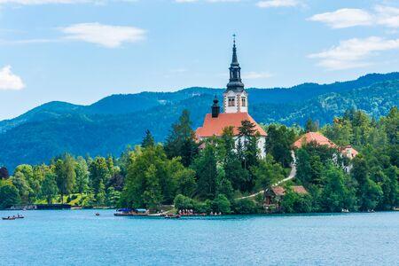 Church on the island of Lake Bled, Slovenia Stockfoto