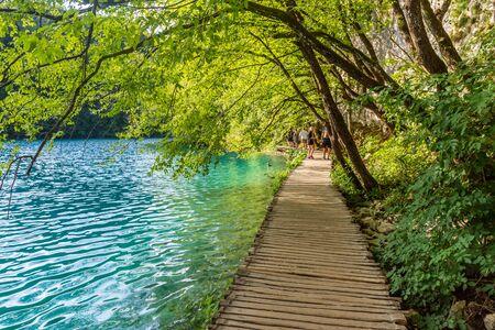 Wooden boardwalk near the Plitvice Lakes, Croatia