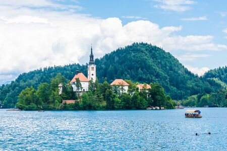 Church on the island of Lake Bled, Slovenia