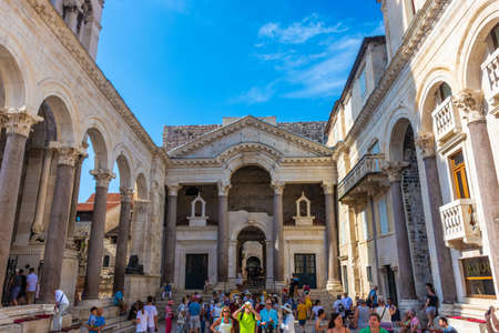 SPLIT, CROATIA, 7 AUGUST 2019: People visiting the Diocletian Palace