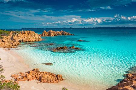 Amazing pink sand beach in Budelli Island, Maddalena Archipelago, Sardinia, Italy Banque d'images
