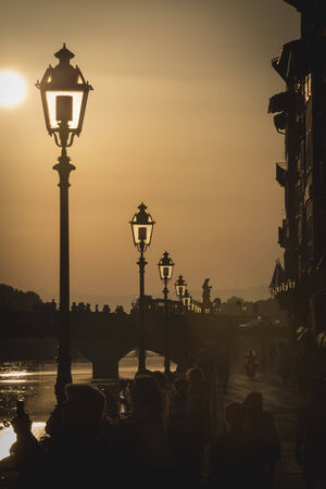 river arno: Sunset on the river Arno