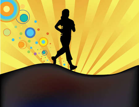 rolling hills: Jogger silhouette on hill at dusk Illustration