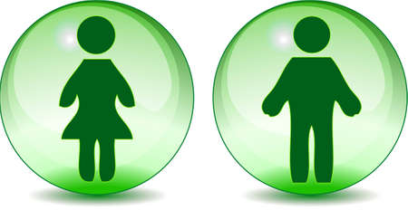 Man woman toilet signs on green glass like globe